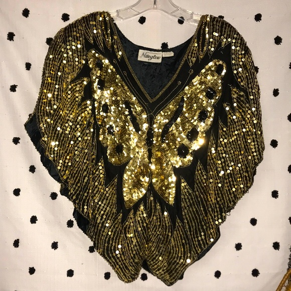 Vintage Butterfly 🦋 Silk Sequins Top
